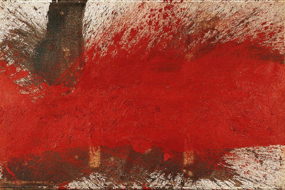 Hermann Nitsch, Bodenschüttbild (aus dem Roten Zyklus, Serie I, 6-teilig), 1995, Öl und Blut auf weißgrundierter Jute (Albertina, Wien. Sammlung Essl)
