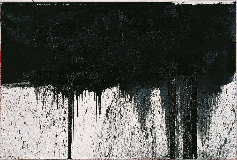 Hermann Nitsch, Kreuzwegstation (aus dem Schwarzen Zyklus), 1991, Öl auf weißgrundierter Leinwand (Albertina, Wien. Sammlung Essl)