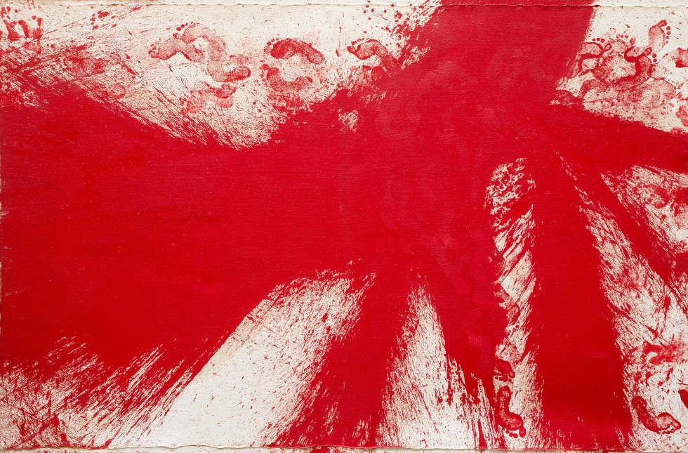 Hermann Nitsch, Schüttbild, 1986, Öl/Lw, 200 x 300 cm (Foto: Manfred Thumberger, ©Hermann Nitsch)