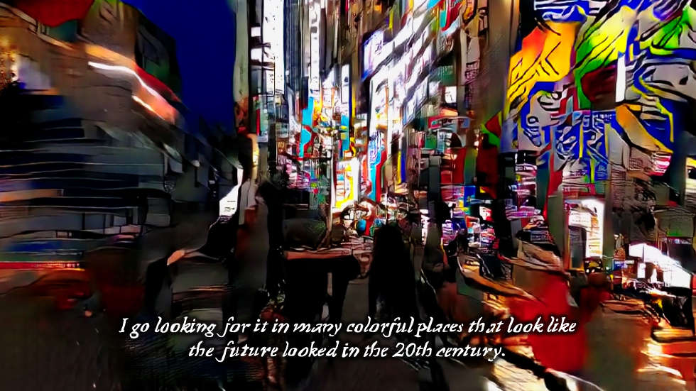 Hito Steyerl, This is the Future, 2019, Video installation (single channel HD video, color, sound), environment, Duration: 16 min, Courtesy the artist, Andrew Kreps Gallery, New York and Esther Schipper, Berlin, © VG Bild-Kunst, Bonn, 2020, Film still © Hito Steyerl