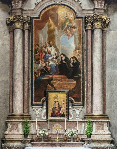 Übergabe der Ordensegel durch den hl. Franz von Sales an Johanna Franziska von Chantal, Umkreis Martino Altomonte (?), Seitenaltarbild (Salesianerinnenkirche Wien)