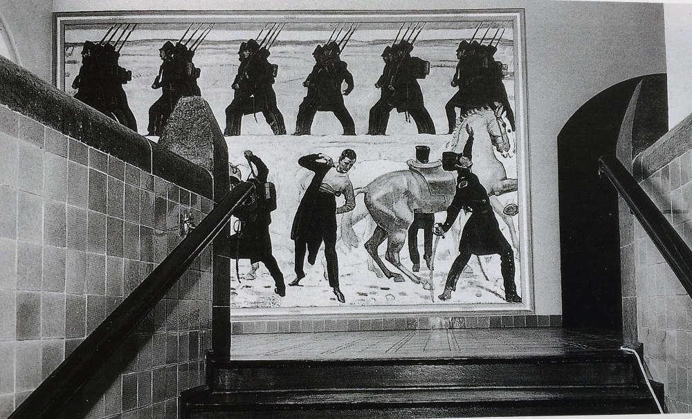 Ferdinand Hodlers Auszug der deutschen Studenten in den Freiheitskrieg von 1813 am ursprünglichen Ort der Aufhängung in der Friedrich-Schiller-Universität Jena, Fotomontage (© Friedrich-Schiller-Universität Jena)
