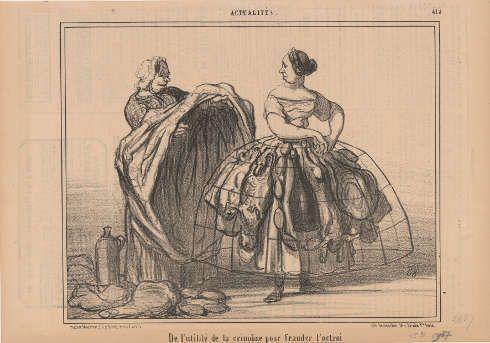 Honoré Daumier, De l'utilité de la crinoline pour frauder l'octroi [Vom Nutzen des Reifrocks, um den Zoll zu betrügen], In: Le Charivari, 19.06.1857, Lithographie, 20,8 x 26,7 cm (Kunsthaus Zürich)