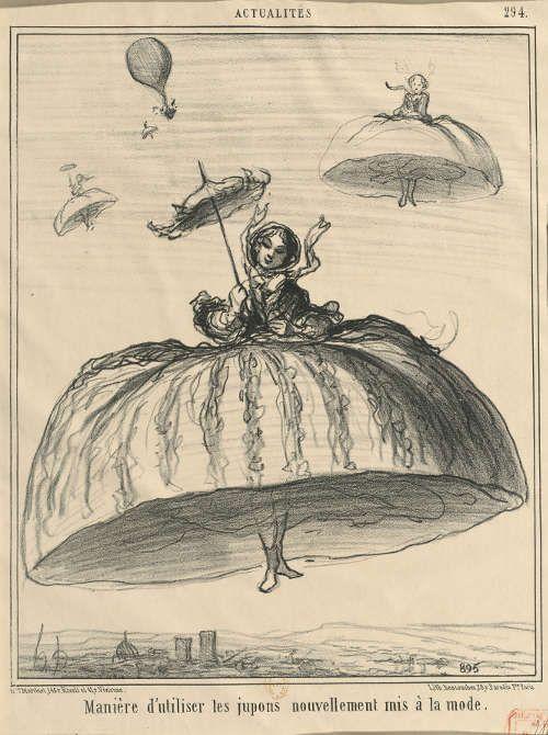 Honoré Daumier, In: Le Charivari, Paris 16. April 1856, Lithographie, 217 x 268 mm, Originaltext: Manière d'utiliser les jupons nouvellement mis à la mode [Neue Möglichkeit zur Verwendung der modernen Röcke] (Kunsthaus Zürich, Graph. Sammlung, DR 2759)
