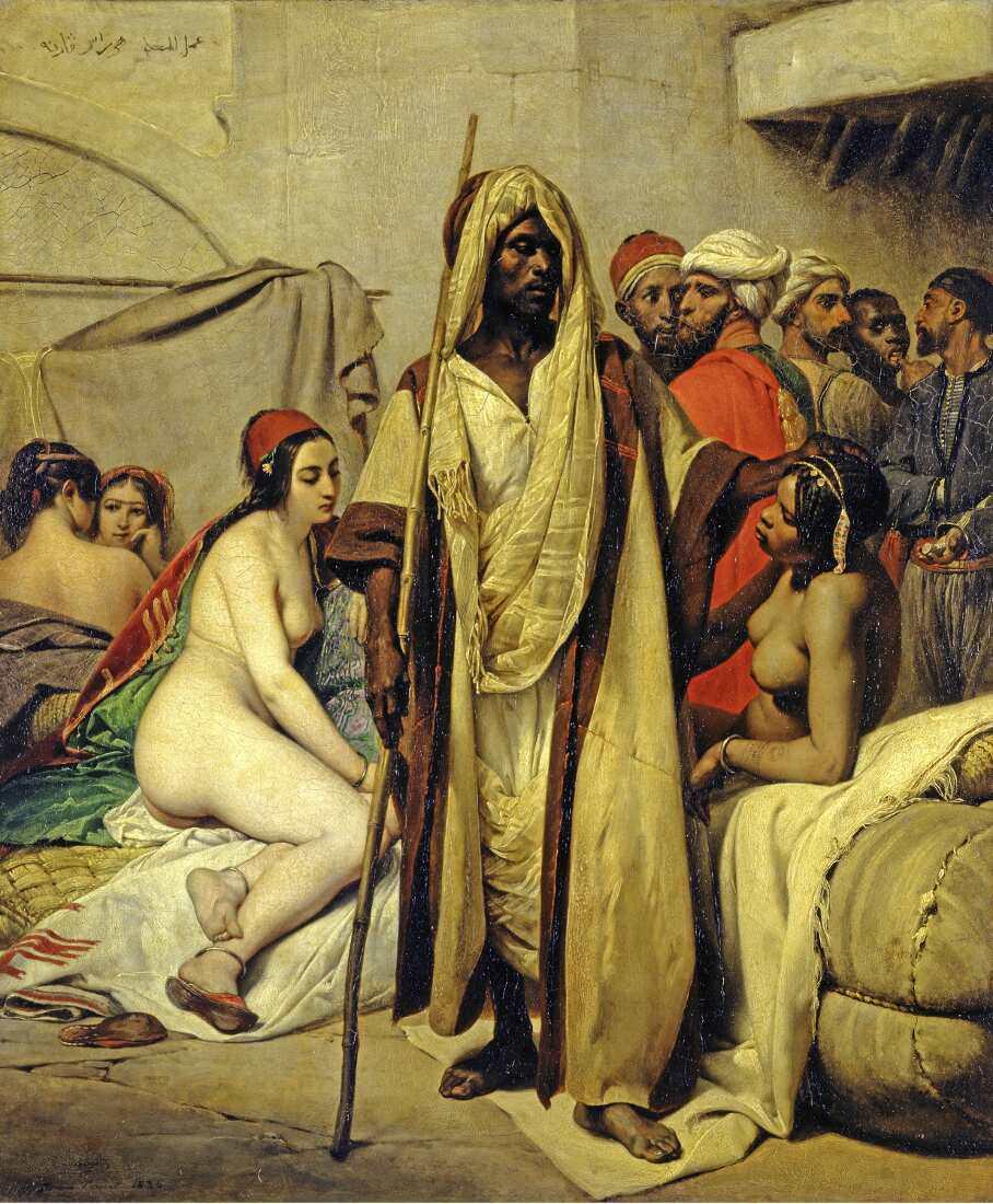 Horace Vernet, Sklavenmarkt, Öl auf Leinwand, 65 x 54 cm (© Staatliche Museen zu Berlin, Nationalgalerie / Andres Kilger)