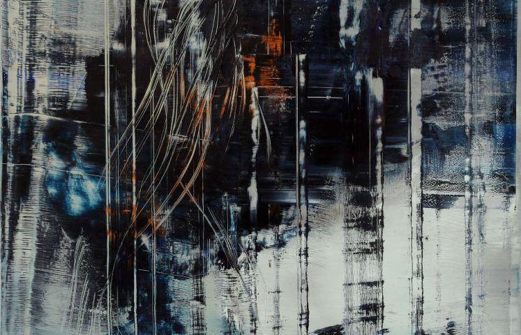 Hubert Scheibl, Cage Painting, Detail, 2012, Öl auf Leinwand, Foto: pixelstorm © Hubert Scheibl