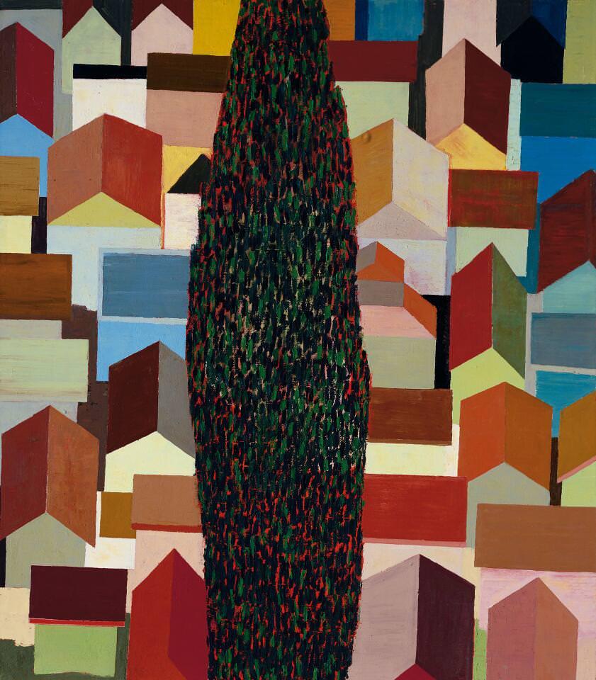 Hubert Schmalix, Zypresse, 1990, Öl auf Leinwand, 244 x 214 cm (Foto: Franz Schachinger, Wien © Albertina, Wien: Sammlung Essl)