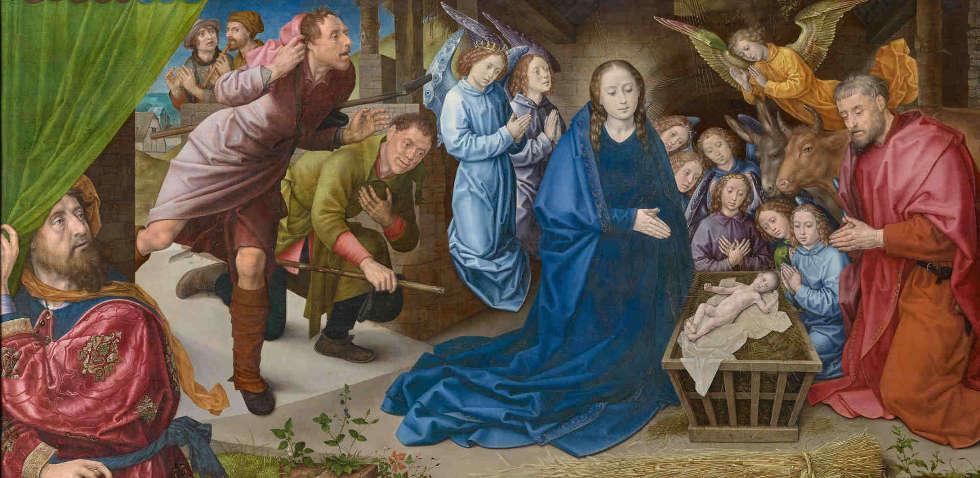 Hugo van der Goes, Die Geburt Christi, Detail, um 1480(Staatliche Museen zu Berlin, Gemäldegalerie / Dietmar Gunne)