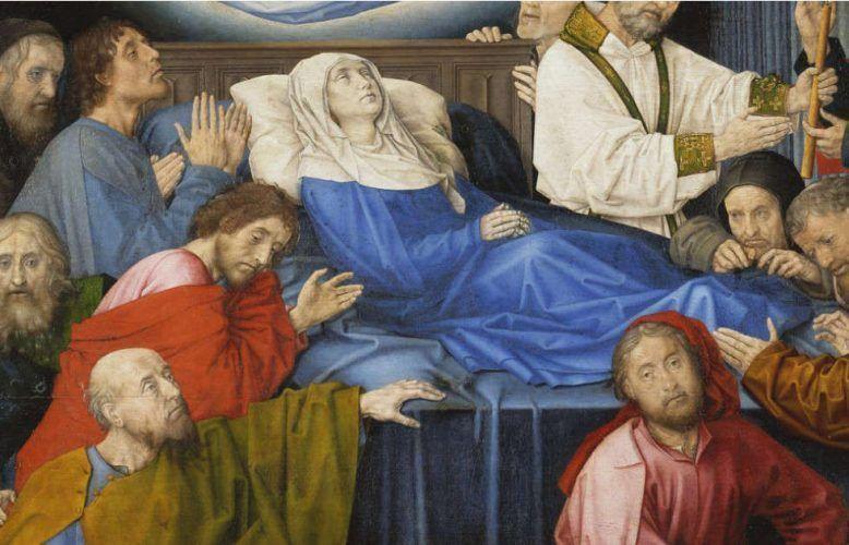 Hugo van der Goes, Marientod, Detail, um 1470 (Groeningemuseum, Brügge)