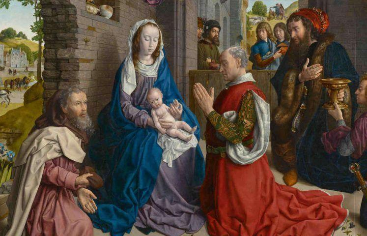 Hugo van der Goes, Monforte-Altar, Detail, um 1470 (Staatliche Museen zu Berlin, Gemäldegalerie / Dietmar Gunne)