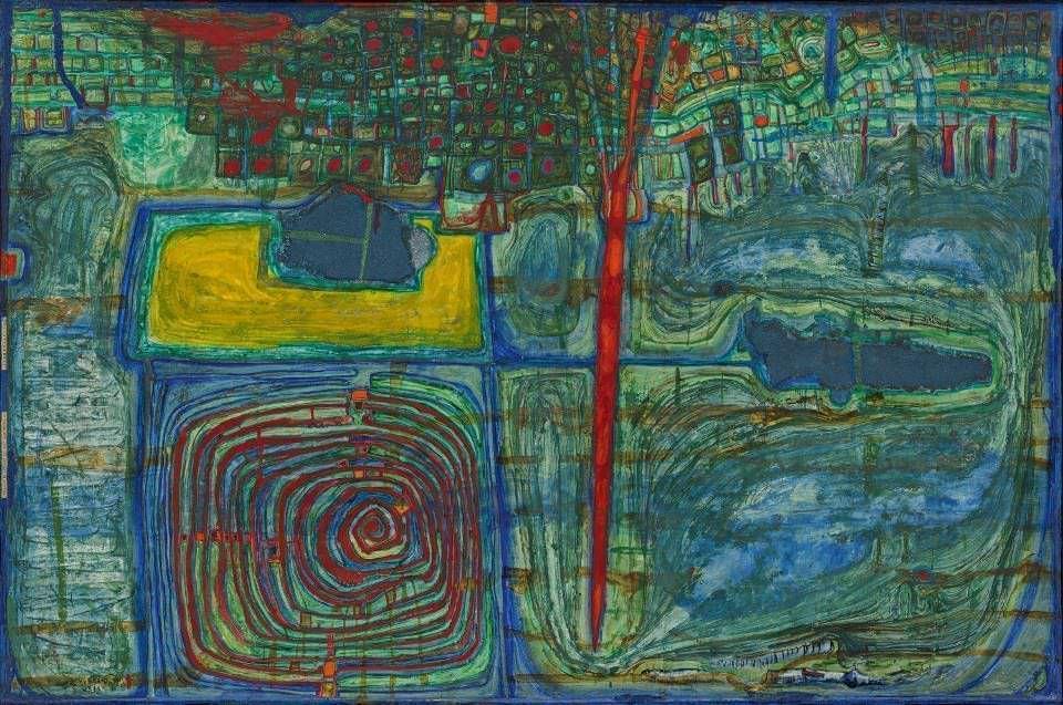 """Friedensreich Hundertwasser, Sonne für die, die auf dem Lande weinen, 1957/1959, Eitempera, Wasserfarbe, Öl und Sand in Öl auf """"Japanese preparation"""" (Papierstücke zusammengeklebt); befestigt auf Holzrahmen), 97 x 146 cm (Foto: Mischa Nawrata, Wien © 2017 NAMIDA AG, Glarus, Schweiz, Albertina, Wien: Sammlung Essl)"""