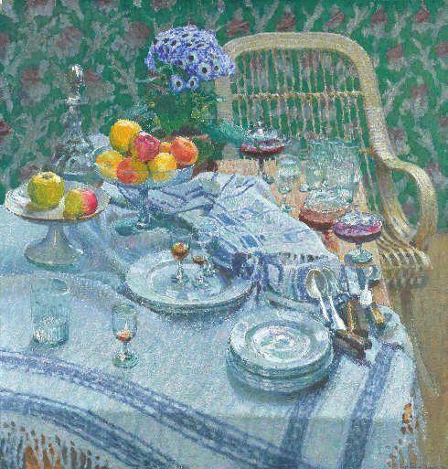 Igor Grabar, Ein unaufegräumter Tisch, 1907, Öl/Lw, 102.5 х 98.5 cm (Tretjakow-Galerie, Moskau)