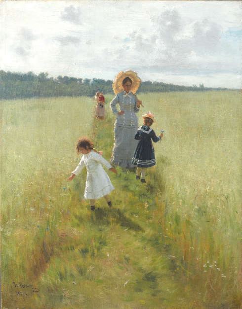 Ilja Repin, Auf dem Feldweg. Wera Repina mit ihren Kindern, 1879, Öl/Lw, 61.5 х 48 cm (Staatliche Tretjakow-Galerie, Moskau)