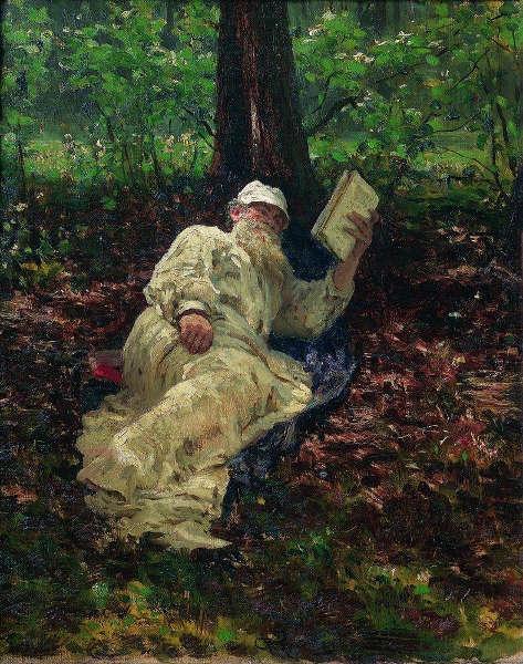 Ilja Repin, Tolstoj im Wald, 1891, Öl/Lw, 60 x 50 cm (Tretjakow-Galerie, Moskau)