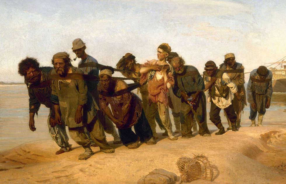 Ilja Repin, Wolgatreidler, Detail, 1870–1873, Öl/Lw, 131,5 x 281 cm, r. unten sign. und dat. (Staatliches Russisches Museum, St. Petersburg)