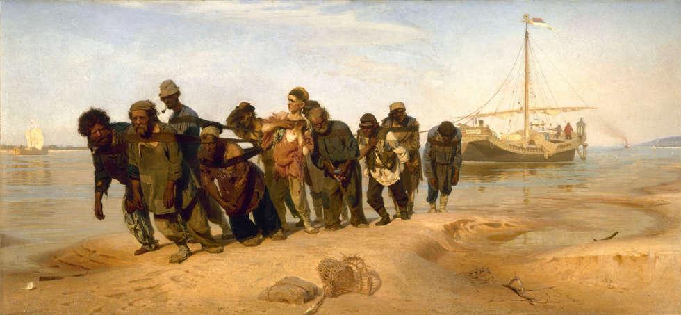 Ilja Repin, Wolgatreidler, 1870–1873, Öl/Lw, 131,5 x 281 cm, r. unten sign. und dat. (Staatliches Russisches Museum, St. Petersburg)
