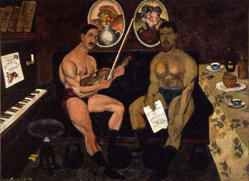 Ilya Maschikow, Selbstporträt mit Piotr Kontschalowsky, 1910, Öl-Lw (Russisches Museum)