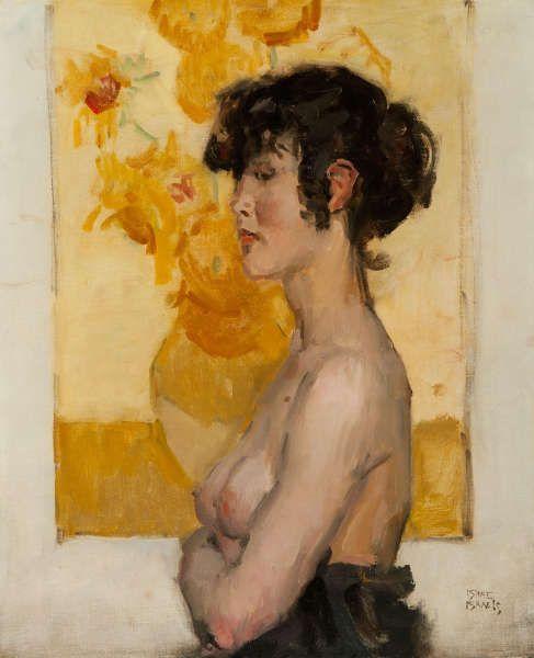 Isaac Israëls, Frau im Profil vor Van Goghs Sonnenblumen, 1916–1920, Öl/Lw, 71 x 59 cm (Museum de Fundatie, Zwolle)