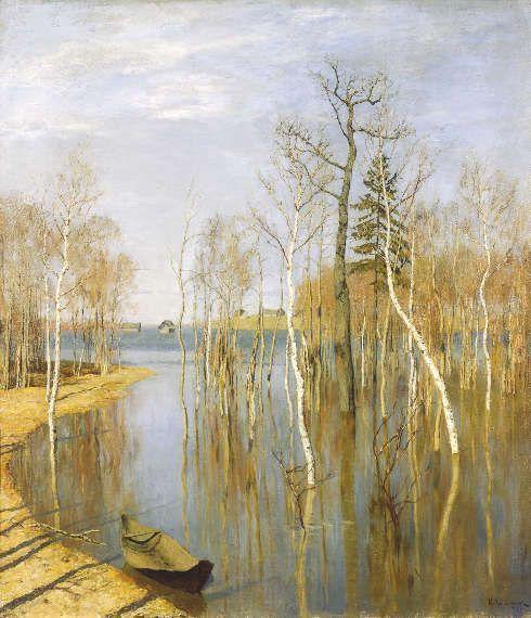 Isaak Iljitsch Lewitan, Frühling – Frühlingsflut, 1897, Öl/Lw, 65 х 57.5 cm (Tretjakow-Galerie, Moskau)