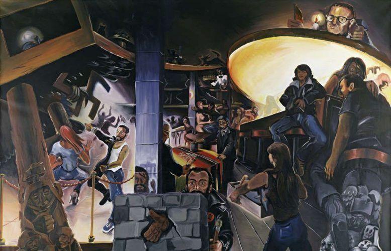 Jörg Immendorff, Café Deutschland I, Detail, 1978, Öl auf Leinwand, 282 x 330 cm (© Estate of Jörg Immendorff, Courtesy Galerie Michael Werner Märkisch Wilmersdorf, Köln & New York)