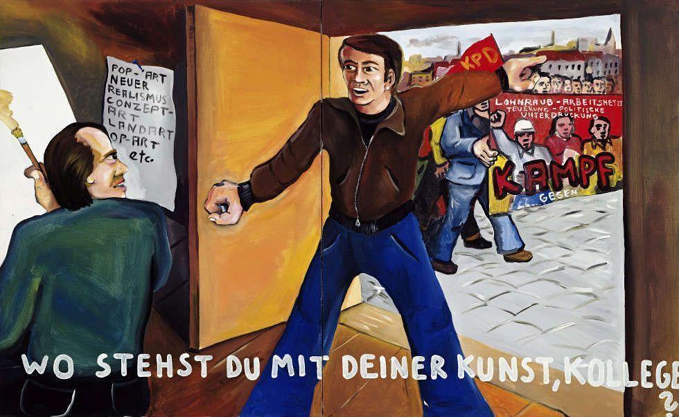 Jörg Immendorff, Wo stehst du mit deiner Kunst, Kollege?, 1973, Acryl auf Leinwand, 2-teilig, 130 x 210 cm (© Estate of Jörg Immendorff, Courtesy Galerie Michael Werner Märkisch Wilmersdorf, Köln & New York)