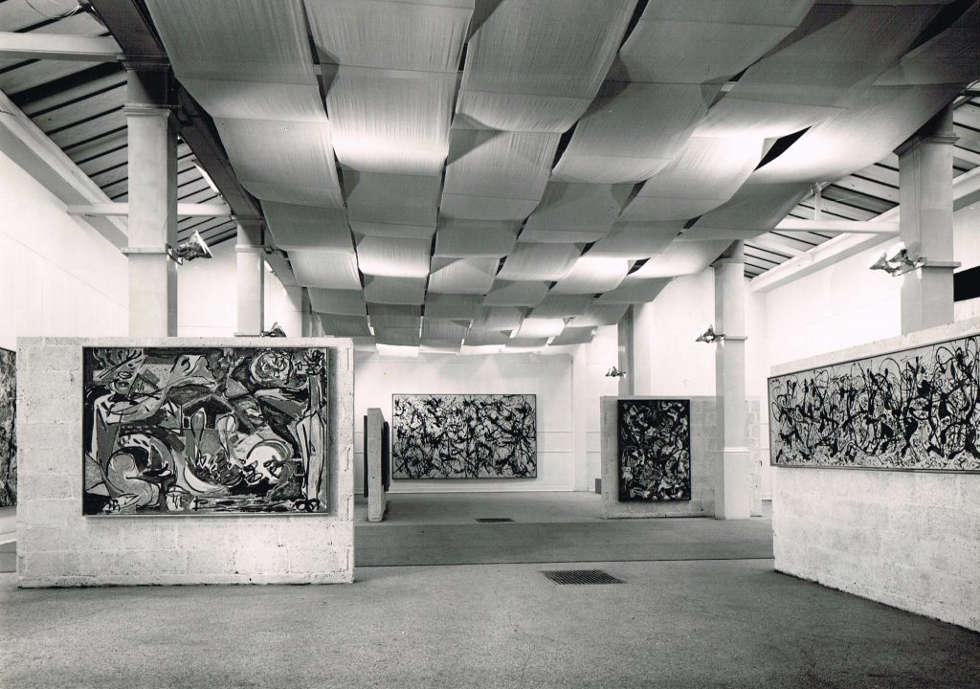 Ausstellungsansicht von der Jackson Pollock Ausstellung 1958 © Whitechapel Gallery
