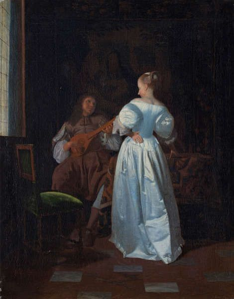 Jacob Ochtervelt, Die Serenade, Öl/Lw, 51 x 40 cm (Kunsthalle Bremen – Der Kunstverein in Bremen)