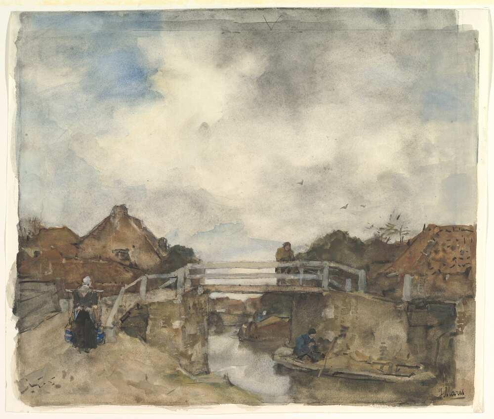 Jacob Maris, Holländischer Kanal, Rijswijk, Aquarell (MET, New York, Wolfe Fund, 1895)