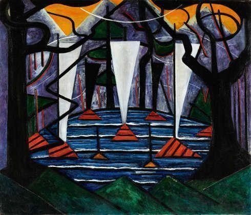 Jacoba van Heemskerck, Bild no. 23 (Weiße Segelboote auf einem See), 1915, Öl auf Leinwand, 111,1 x 130,9 cm (Kunstmuseum Den Haag, Foto: Kunstmuseum Den Haag)