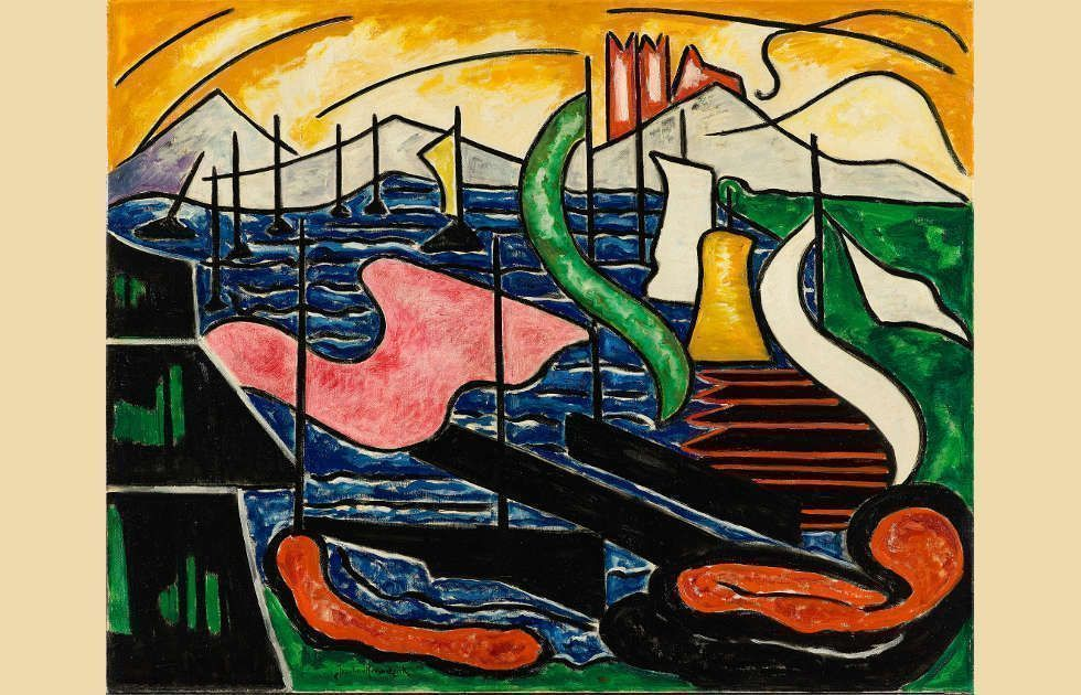 Jacoba van Heemskerck, Bild no. 33 (Meer mit Schiffen), 1915, Öl auf Leinwand, 80,5 x 100,5 cm (Kunstmuseum Den Haag, Foto: Kunstmuseum Den Haag)