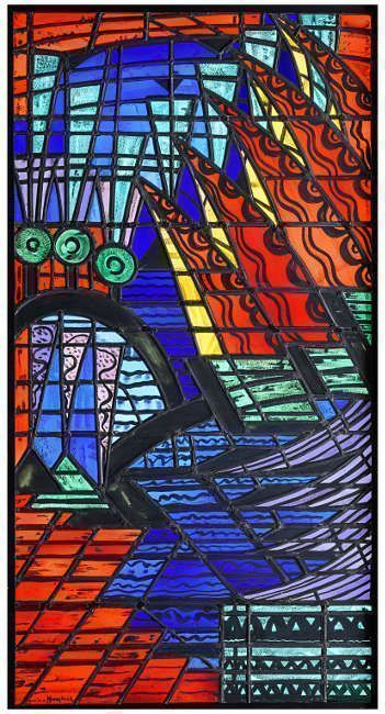 Jacoba van Heemskerck, Vestibülfenster der Villa Wulffraat, 1920, Bleiglasfenster mit Glasmalerei, 136 x 71,5 cm, Ausführung: Atelier J. W. Gips, Den Haag (Kunstmuseum Den Haag, Foto: Kunstmuseum Den Haag)