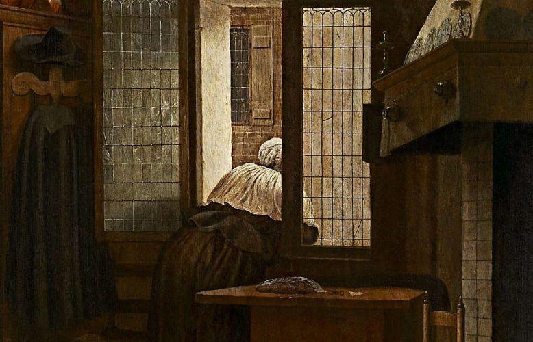 Jacobus Vrel, Frau am Fenster, Detail, 1654 datiert, Eichenholz, 66,5 × 47,4 cm (Kunsthistorisches Museum, Wien)