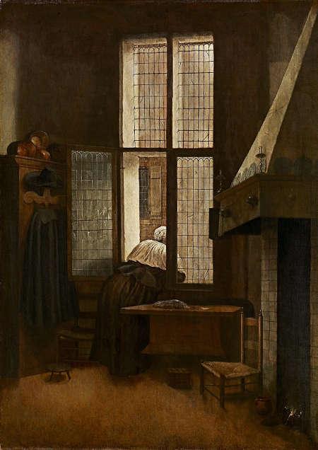 Jacobus Vrel, Frau am Fenster, 1654 datiert, Eichenholz, 66,5 × 47,4 cm (Kunsthistorisches Museum, Wien)