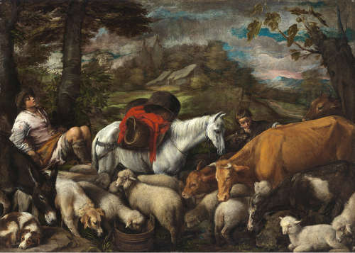 Jacopo Bassano, Pastorale Szene, um 1568, Öl auf Leinwand, 99,5 x 137,5 cm (Szépmüvészeti Múzeum, Budapest)