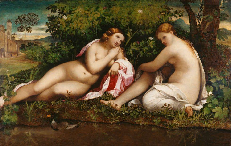 Jacopo Palma il Vecchio, Zwei ruhende Nymphen, um 1510–15, Öl auf Pappelholz, 98,3 x 152,4 cm (Städel Museum Frankfurt am Main © Städel Museum – ARTOTHEK)