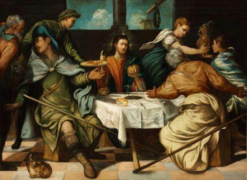 Jacopo Tintoretto, Abendmahl in Emmaus, um 1543, Öl auf Leinwand, 156 x 212 cm (Szépmüvészeti Múzeum / Museum der Bildenden Künste, Budapest)