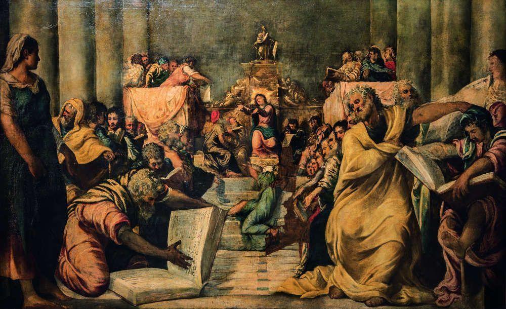 Jacopo Tintoretto, Christus unter den Schriftgelehrten, um 1539, Öl auf Leinwand, 197 x 319 cm (Veneranda Fabbrica del Duomo di Milano, Museo del Duomo, Mailand, Foto: © Veneranda Fabbrica del Duomo di Milano)