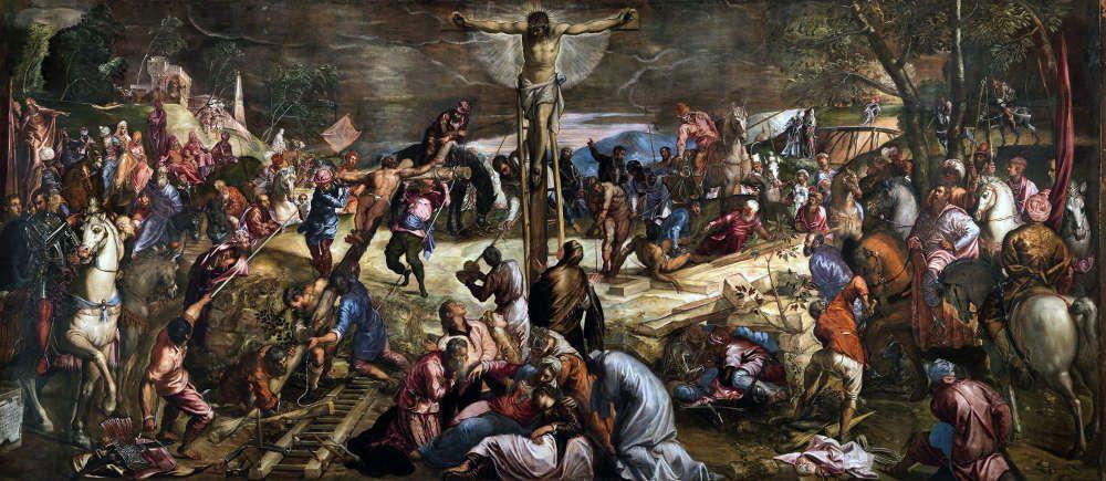 Jacopo Tintoretto, Kreuzigung, 1565, Öl/Lw, 535 x 224 cm (Sala dell'Albergo, Scuola di San Rocco, Venedig)