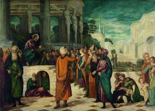 Jacopo Tintoretto und Werkstatt, Christus und die Ehebrecherin, um 1547–1549, Öl auf Leinwand, 160 x 225 cm (Rijksmuseum Amsterdam, Foto: © Rijksmuseum Amsterdam)