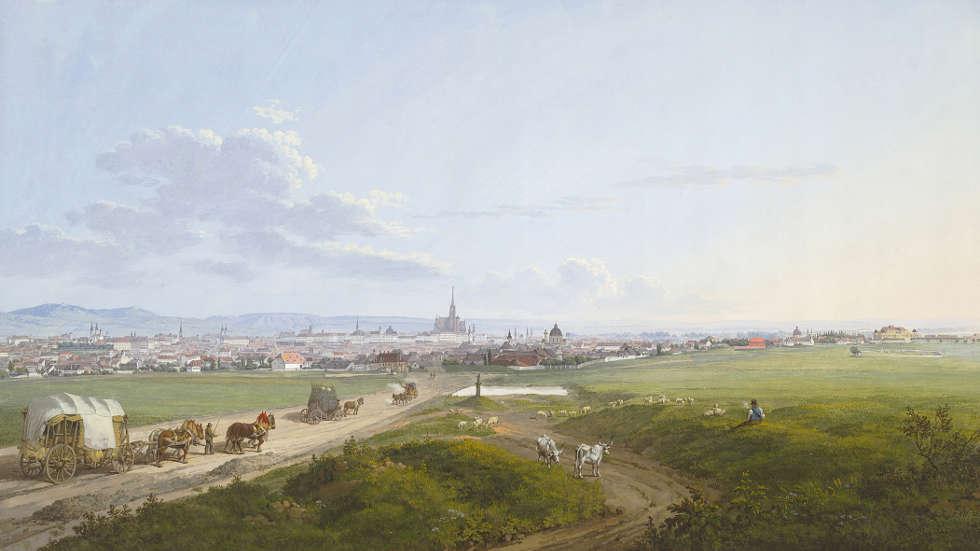 Jakob Alt, Blick auf Wien von der Spinnerin am Kreuz, 1817, Aquarell, Deckfarben (Albertina, Wien)