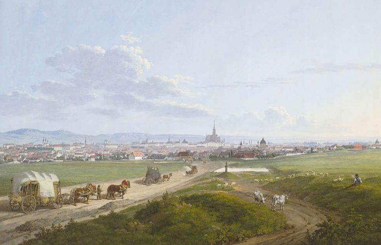 Jakob Alt, Blick auf Wien von der Spinnerin am Kreuz, Detail, 1817, Aquarell, Deckfarben (Albertina, Wien)