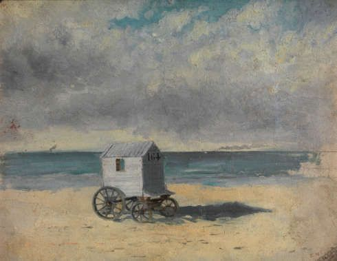 James Ensor, Badewagen, Nachmittag des 29. Juli 1876, Öl auf Karton, 23 x 18 cm (KMSKA, T34)