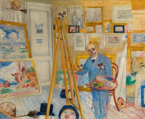James Ensor, Der Skelettmaler, 1896, Öl auf Holz, 38,5 x 45,5 cm (KMSKA, T385)