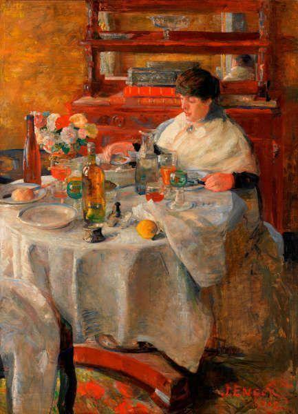 James Ensor, Die Austernesserin (Im Land der Farben), 1882, Öl auf Leinwand, 207 x 105 cm (KMSKA, T224)