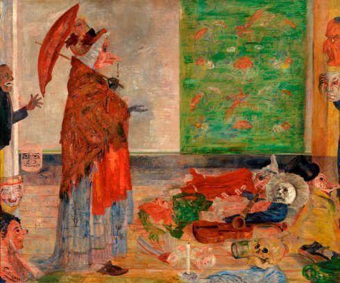 James Ensor, Die Verwunderung der Maske Wouse, 1889, Öl auf Leinwand, 109 x 131 cm (KMSKA, T302)