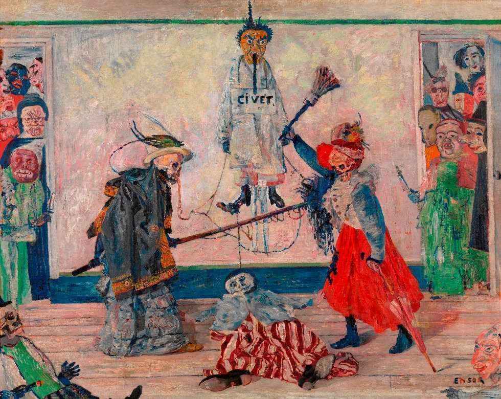James Ensor, Skelette im Streit um einen Gehängten, 1891, Öl auf Leinwand, 59 x 74 cm (KMSKA, T334)