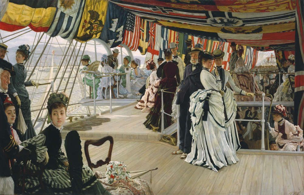 James Tissot, The Ball on Shipboard, um 1874, Öl/Lw, 101,2 x 147,6 x 11,5 cm (Tate. Presented by the Trustees of the Chantrey Bequest 1937)