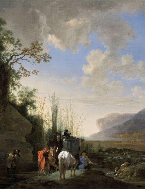 Jan Asselijn, Küstenlandschaft mit rastenden Reitern, Detail, um 1651/52, Öl/Lw, 71,3 x 96 cm (Gemäldegalerie der bildenden Künste, Wien, Inv. 869)