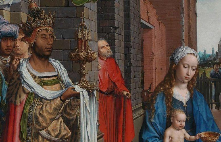 Jan Gossaert (Jean Gossart), Die Anbetung der Könige, Detail, 1510–1515, Öl/Eiche, 179,8 x 163,2 cm (© The National Gallery, London, NG2790)