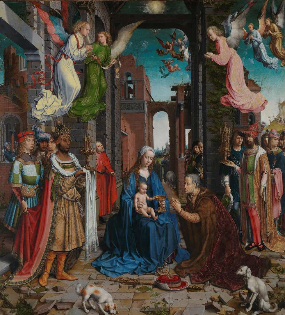 Jan Gossaert (Jean Gossart), Die Anbetung der Könige, 1510–1515, Öl/Eiche, 179,8 x 163,2 cm (© The National Gallery, London, NG2790)